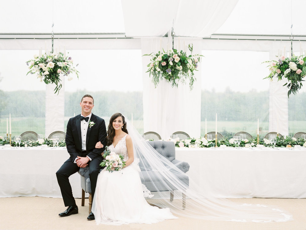 Indoor Tent Wedding Couple Portrait at Saratoga National Golf Club
