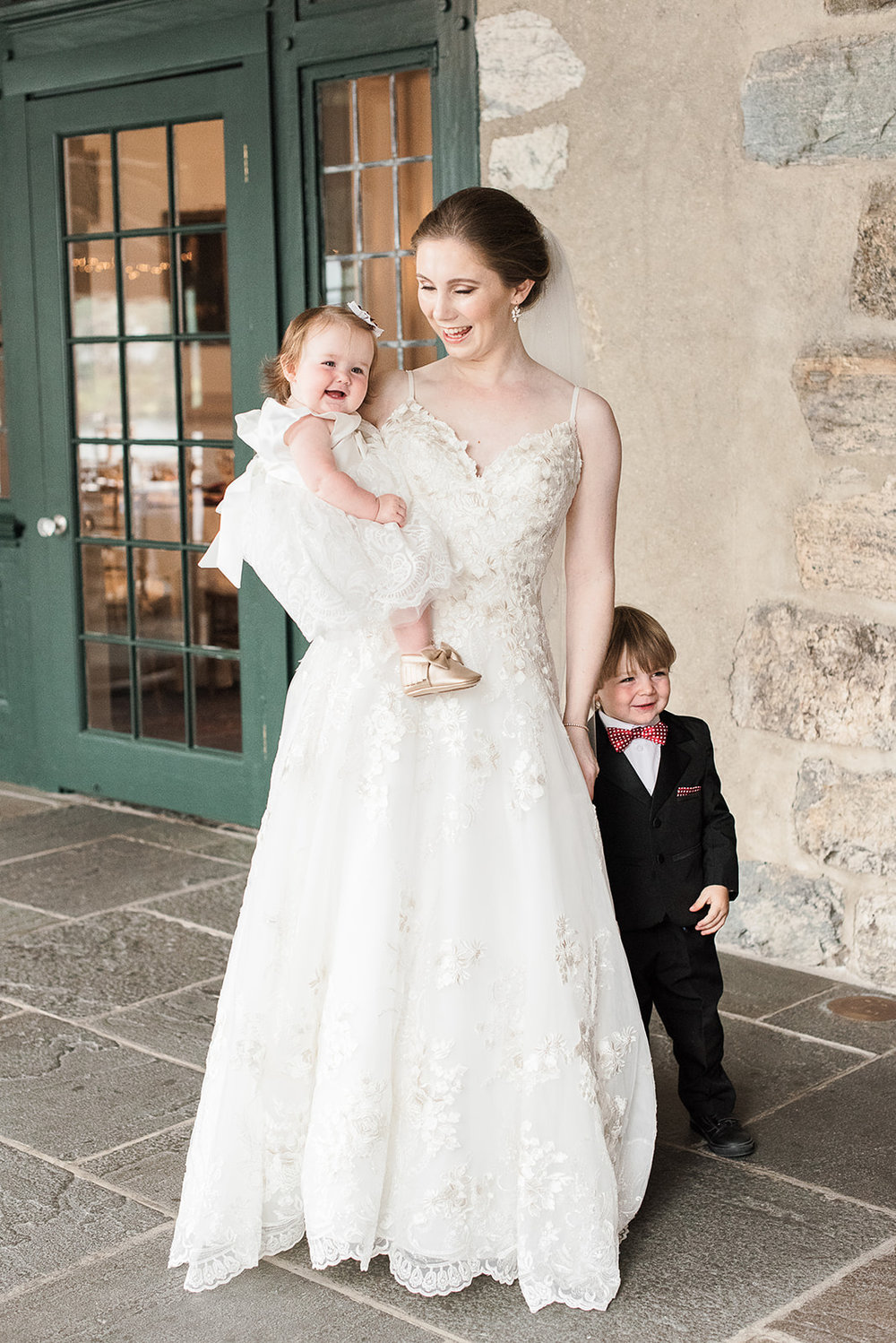 Flower girl and ring bearer photo with the bride