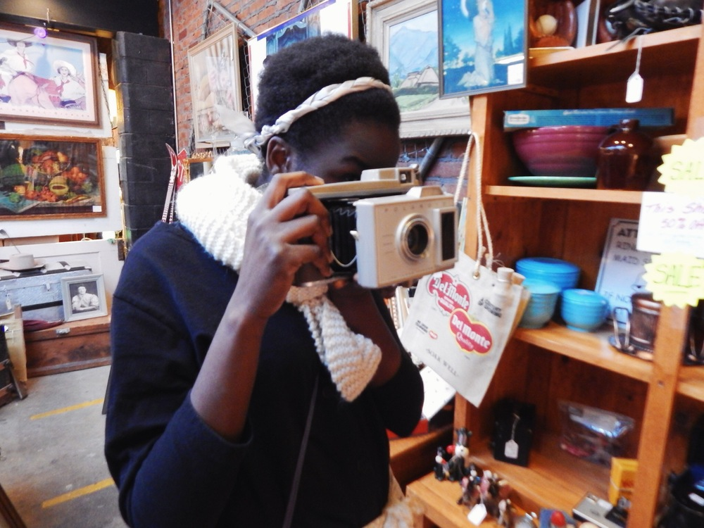 Holly loved the old cameras at Tossed & Found.