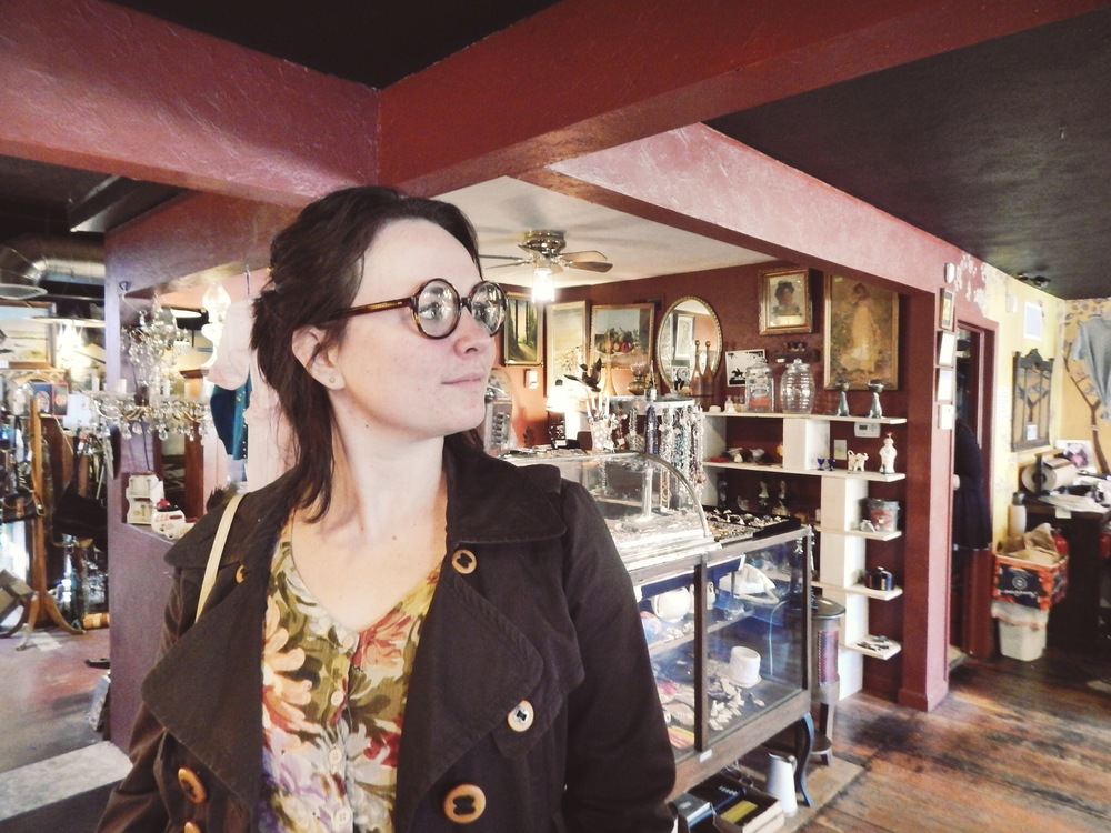 Amy rocked a pair of  specs at Tossed & Found.