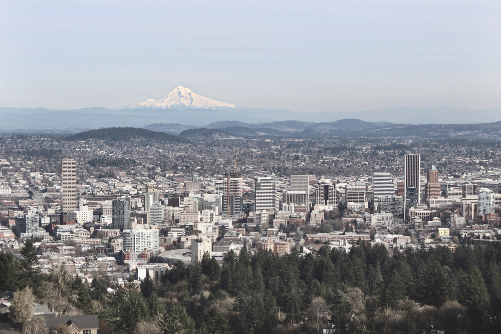 Portland from a viewpoint at Pittock Mansion.