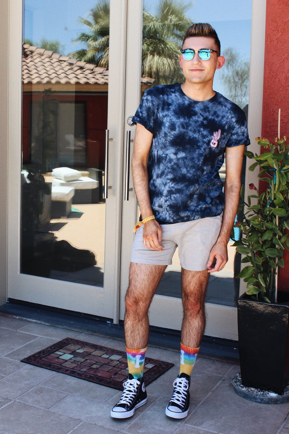 3ae1328f30a h m SHIRT • american apparel SHORTS • huf SOCKS diff SUNGLASSES • converse  SHOES