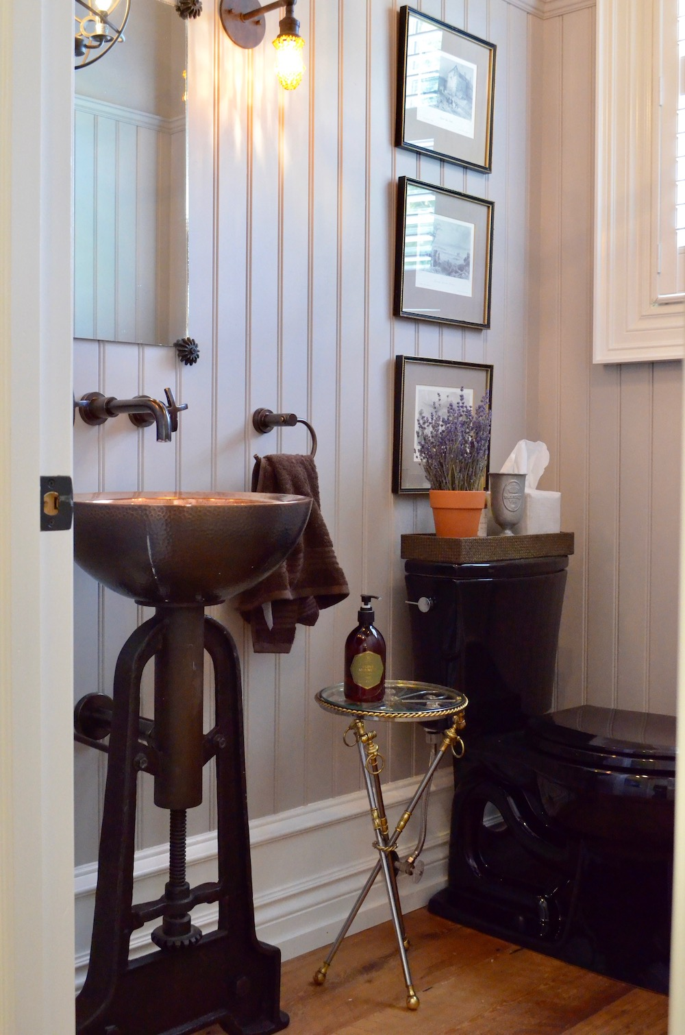 farmhouse country powder room 2pc bathroom repurposed sink.jpeg