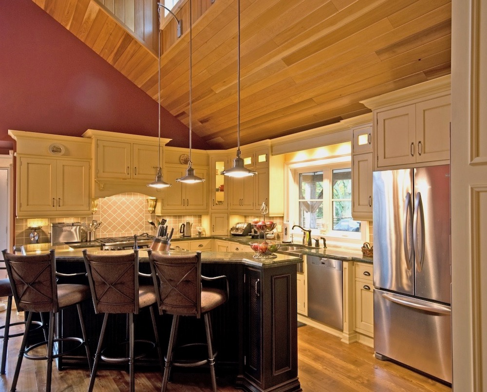 kitchen cathedral vaulted ceiling black island tongue and groove.jpeg