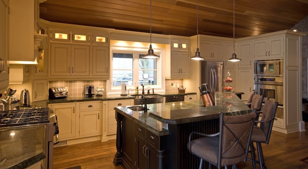 kitchen tongue and groove ceiling black island country.jpeg