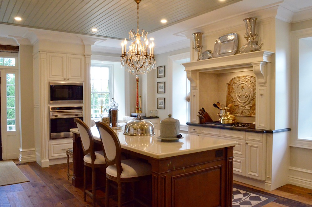 white country kitchen brown island tongue and groove ceiling crown moulding.jpeg