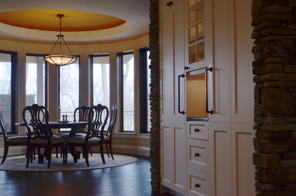 white kitchen cabinets dining room circular ceiling round.jpeg