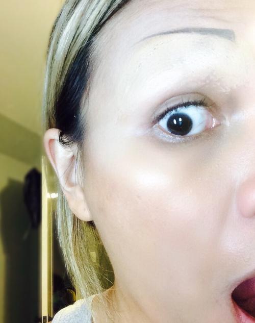 Using glue to glue down my eyebrows