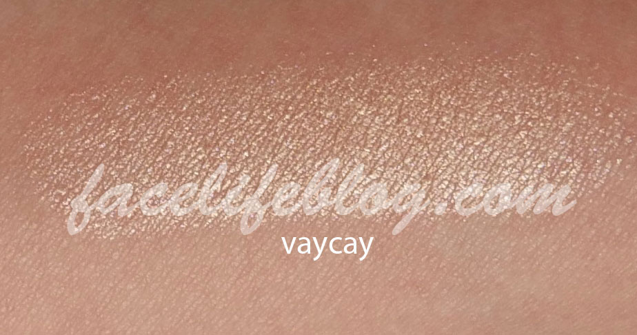 """Vaycay is supposed to be a """"rose gold shimmer"""" but looks more like an iridescent peach color. This color is exactly up my alley and I can see myself using this on a daily basis."""