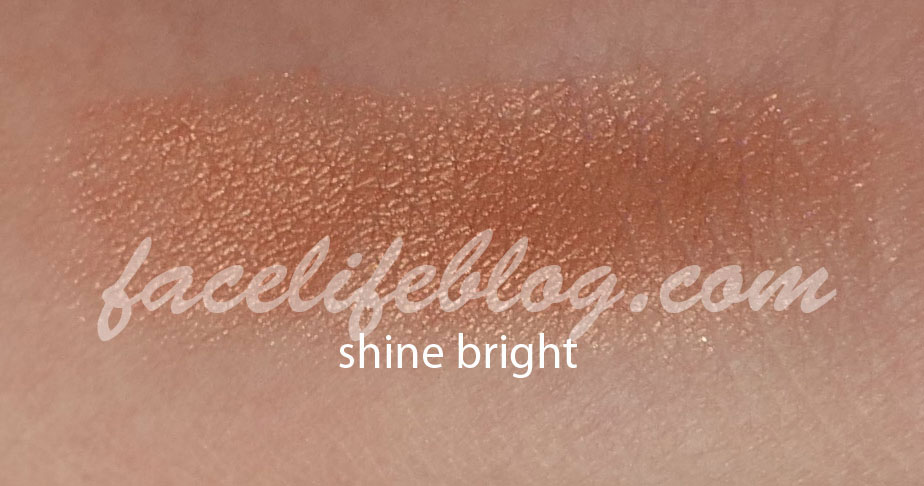 Shine bright is a copper shimmer and is another color that is just my cup of tea! It truly is a good copper and would be perfect for a bronze look for the summer!