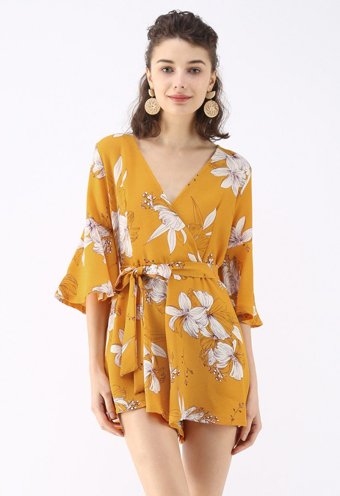 CHIC WISH - 'Bold Blooms Floral Wrapped Playsuit'