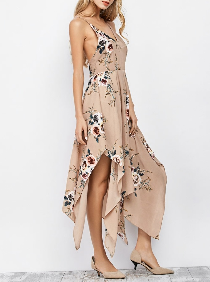 Dresslily - Floral Maxi Handkerchief Casual Slip Dress