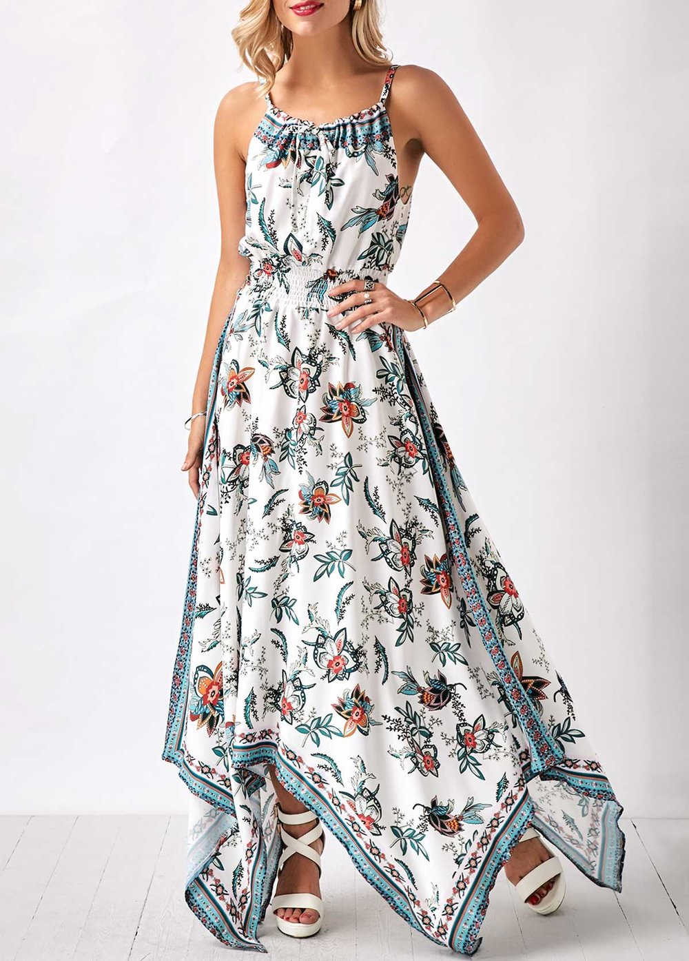 Rotita - Spaghetti Strap Flower Print Sharkbite Hem Maxi Dress