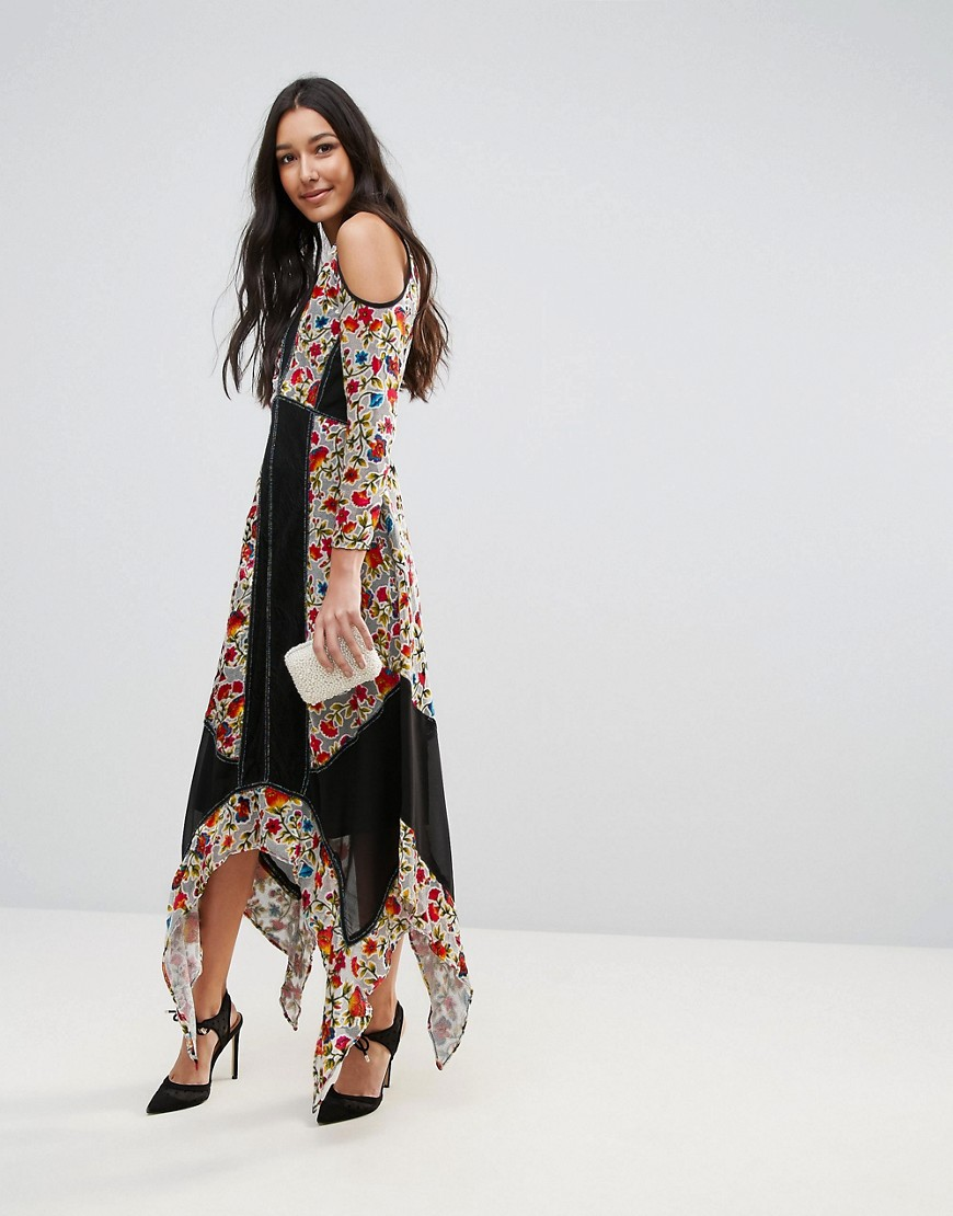 ASOS - Frock And Frill Tall Floral Printed Velvet Hanky Hem Dress With Cold Shoulder