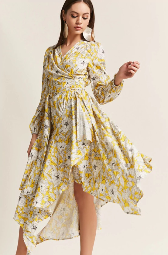 Forever 21 - Floral Surplice Wrap Handkerchief Dress