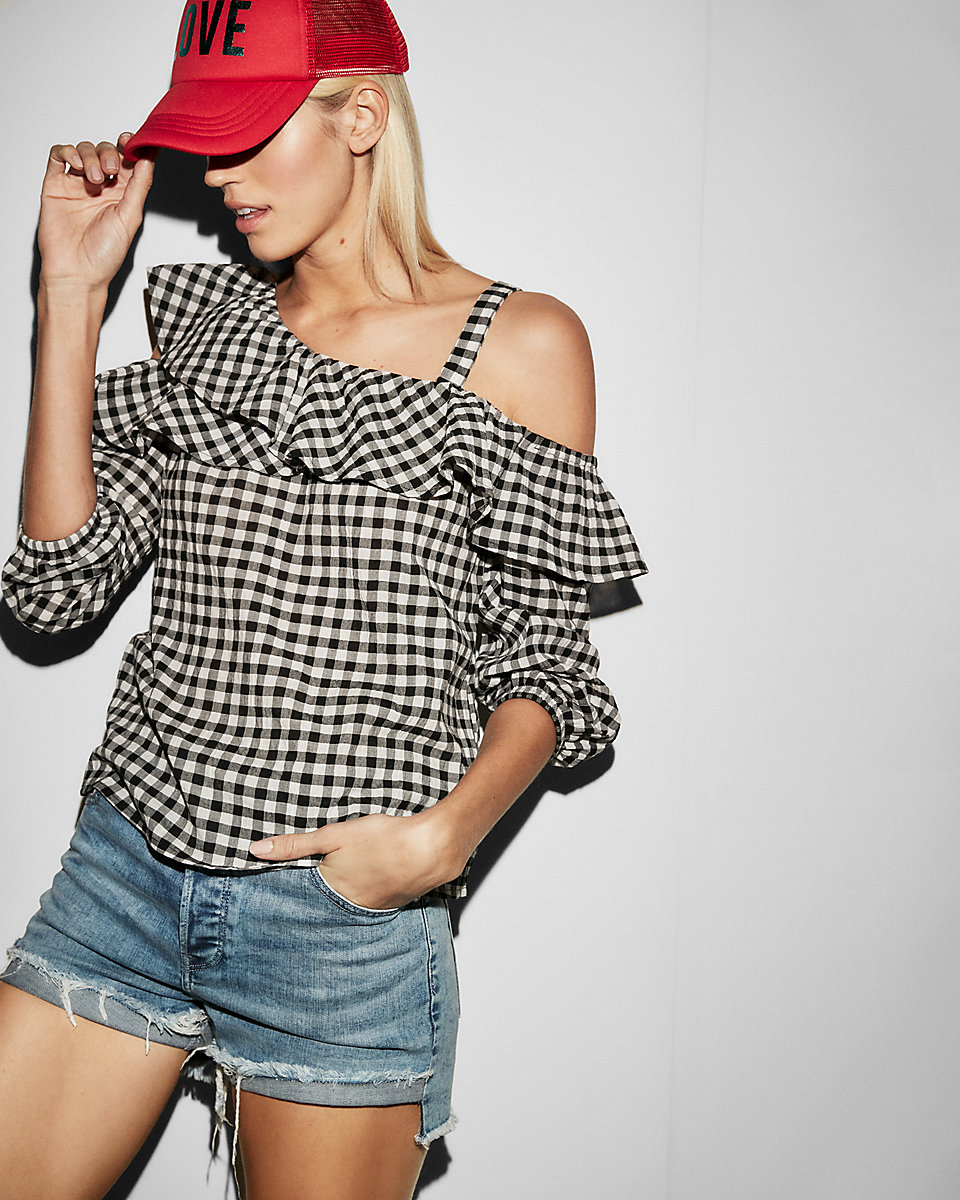 EXPRESS - 'Gingham Asymmetrical One Shoulder Ruffle Blouse'