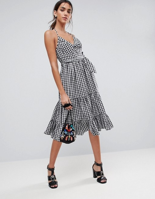 ASOS - 'Gingham Tiered Midi Halter Sundress'
