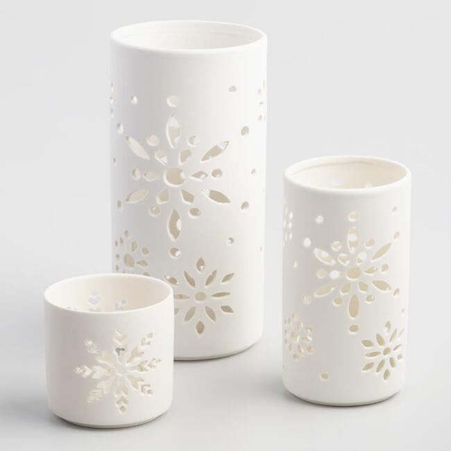 Cost Plus World Market White Ceramic Snowflake Tealight Candleholder