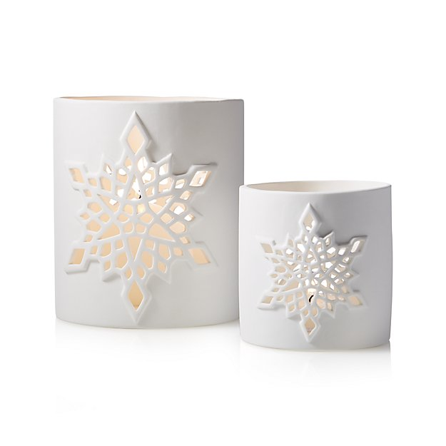 Crate and Barrel Snowflake Candle Holders