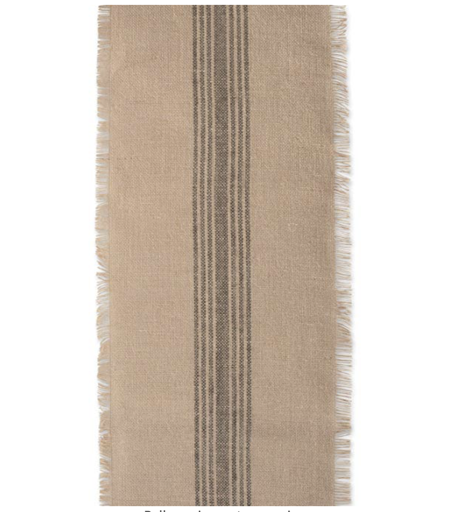 Amazon Mineral Middle Stripe Burlap Table Runner