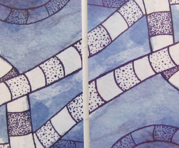 And now the comparison test. The two Purple Worms side-by-side. The left is RedBubble, the right is BlueCanvas. RedBubble detail is grittier, again picking up the detail of the paper texture and pen bleeds. BlueCanvas is softer, smoother, lighter (by a fraction).