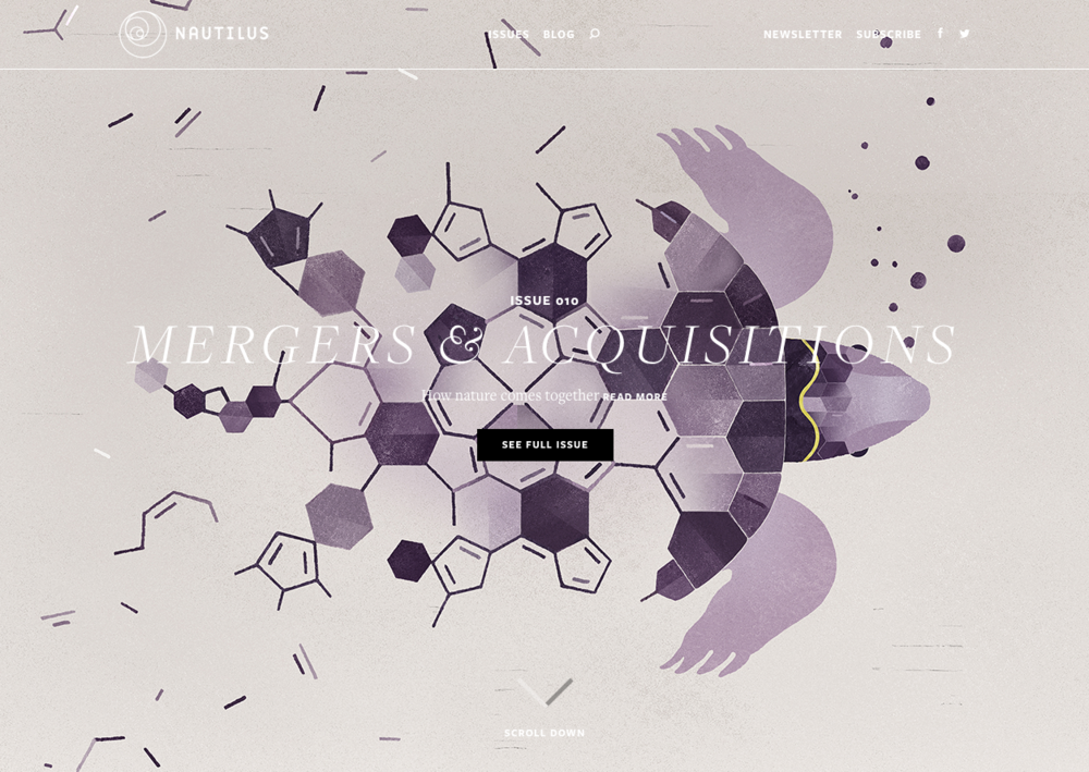 Stunning website as well - scrolling upwards reveals the month's topic and cover illustration.