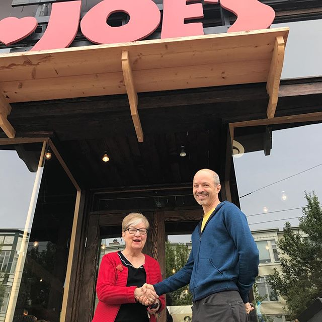 Anne (Reduced Guilt Mac n' Cheese) meets Greg, our first-ever customer. On Jan 1, 2012 he saw box of Joe's O's in the window of a place called Transilvania Trading (we were disguised as a Romanian Bakery so TJ's wouldn't find out)