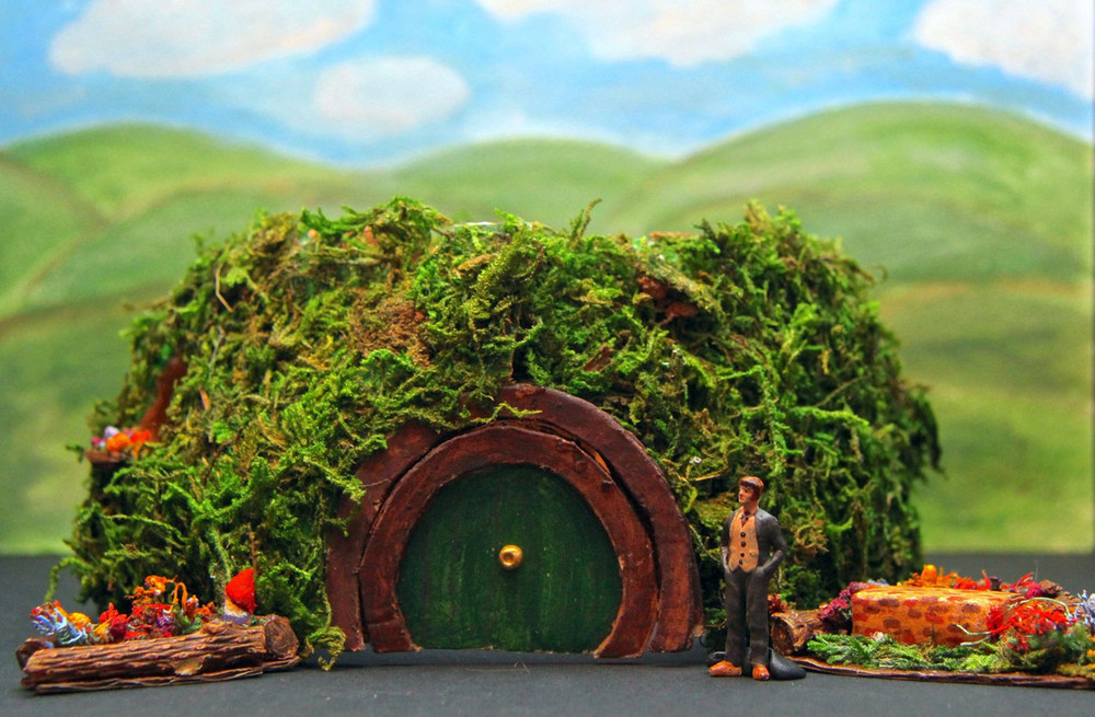 The Hobbit : Exterior of Bag End, Theoretical Design, Texas UIL State Meet, 2013  This design was for the Texas UIL 2013 competition. The house later swings open to reveal the interior when the dwarves begin to take over Bilbo's house. I was a state finalist.
