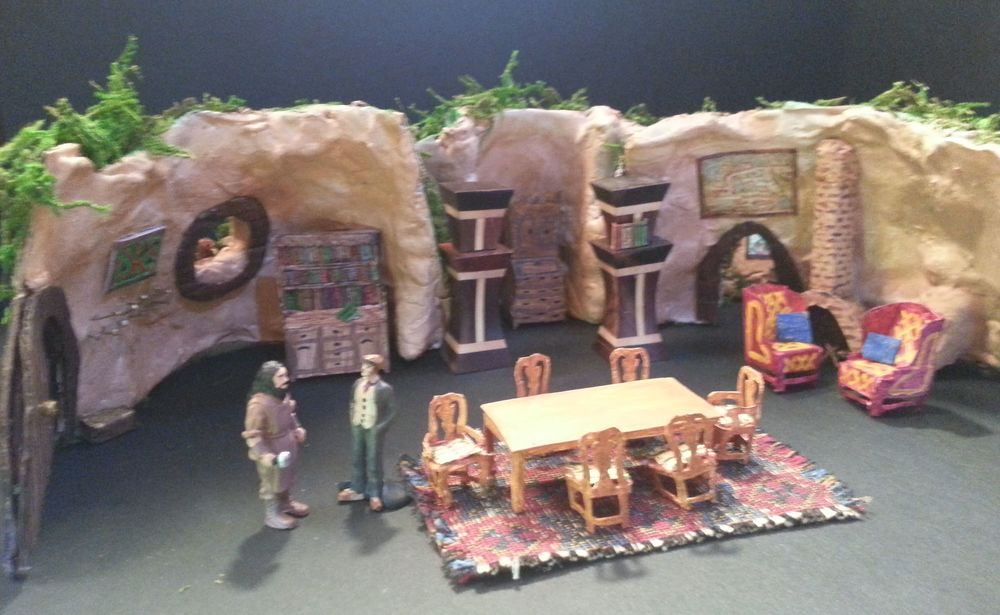 The Hobbit : Interior of Bag End, Theoretical Design, Texas UIL State Meet, 2013 Bilbo's house opens up to accommodate the twelve dwarves as his heart does later. This design is based on a careful reading of the text.