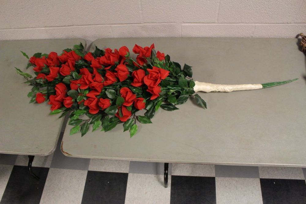 Pirates of Penzance : Large Rose Bouquet, Gilbert and Sullivan Society of Houston, 2015  Repaired and added white satin ribbon.