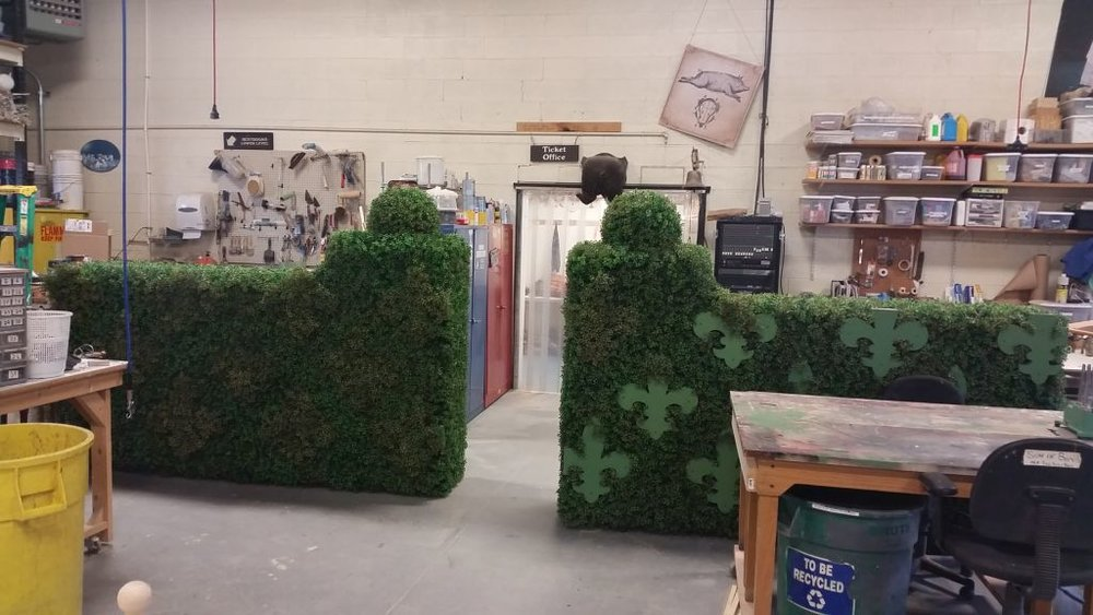 The Three Musketeers : Fleur-de-lis Hedge (in progress), Utah Shakespeare Festival, 2016  After the left-hand hedge was done it was decided to redo the hedges and paint the fleur-de-lis instead of covering them with foliage.