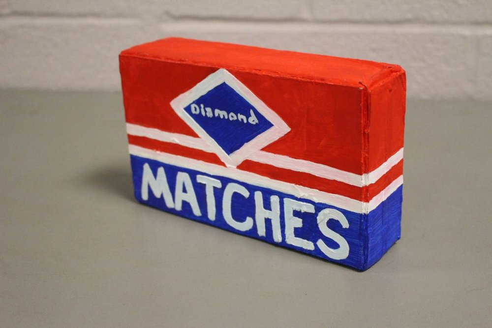 """Pirates of Penzance : Matchbox  8""""x6""""x2"""" Painted design to replicate a box of easily recognizable matchbox logo."""