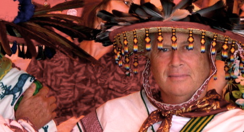 Peter e brown in his traje, traditional huichol clothing