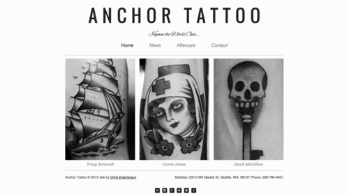 Site: Anchor Tattoo Designed by: Chris Eisenbraun What we did:  Custom CSS - Design - Planning