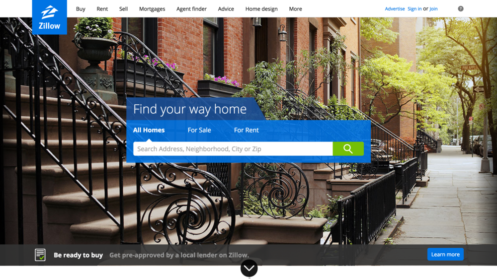 Site: Zillow Designed by: Zillow What I did:  Backend, data related.