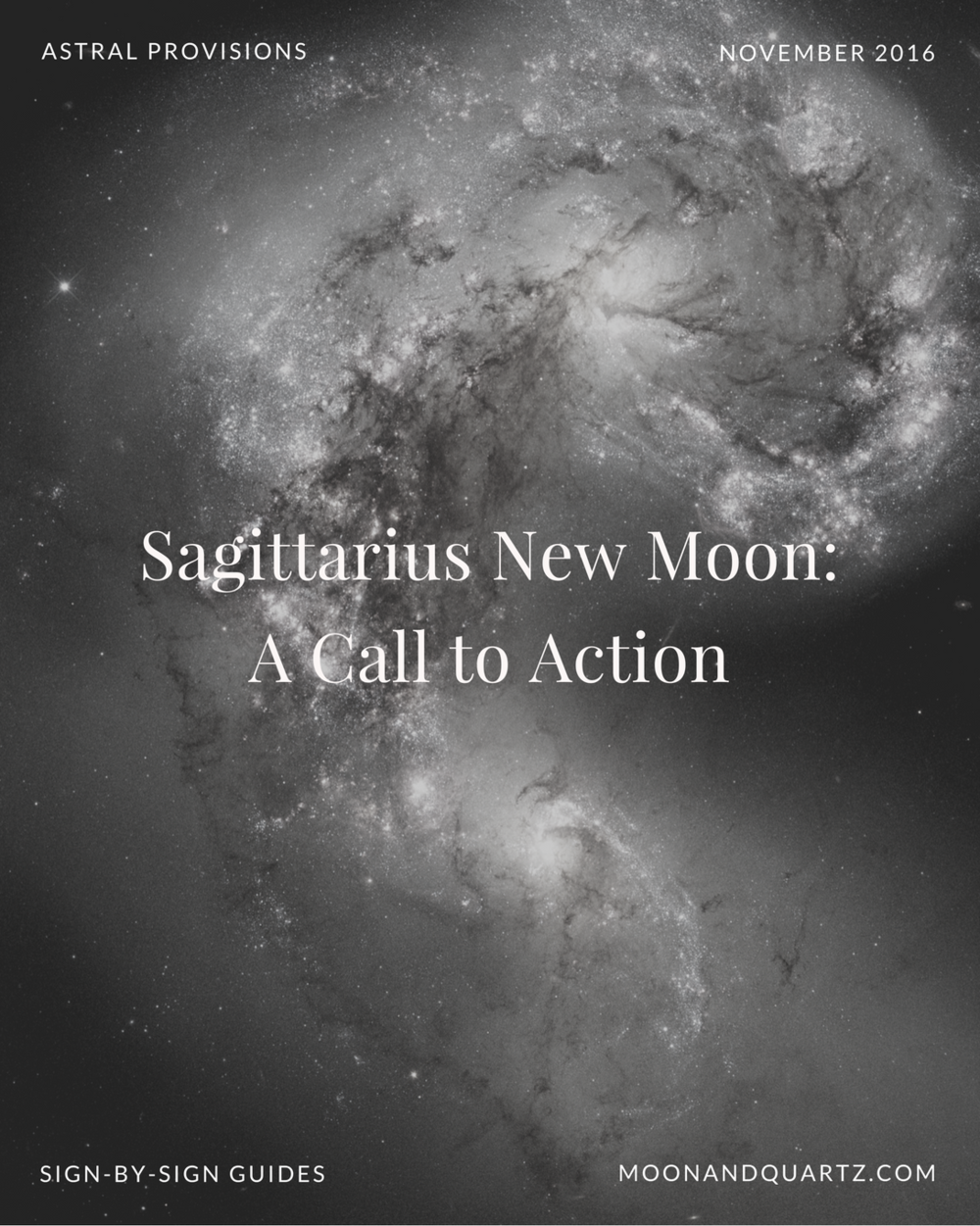 The New Moon in Sagittarius,exact at 4:18am Tuesday, presents an opportunity to expand our understanding of what's possible through our exposure to and incorporation of the new.The Moon Guides are available now (and free to subscribers!) with guidance for each of the twelve signs as well as a fresh new ritual I'm hoping you'll join in with me over the next few months. Click through to download and read more about the Sagittarius New Moon.