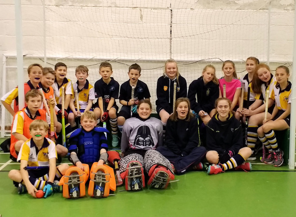 The U14 Girls training indoors with the U12 boys.