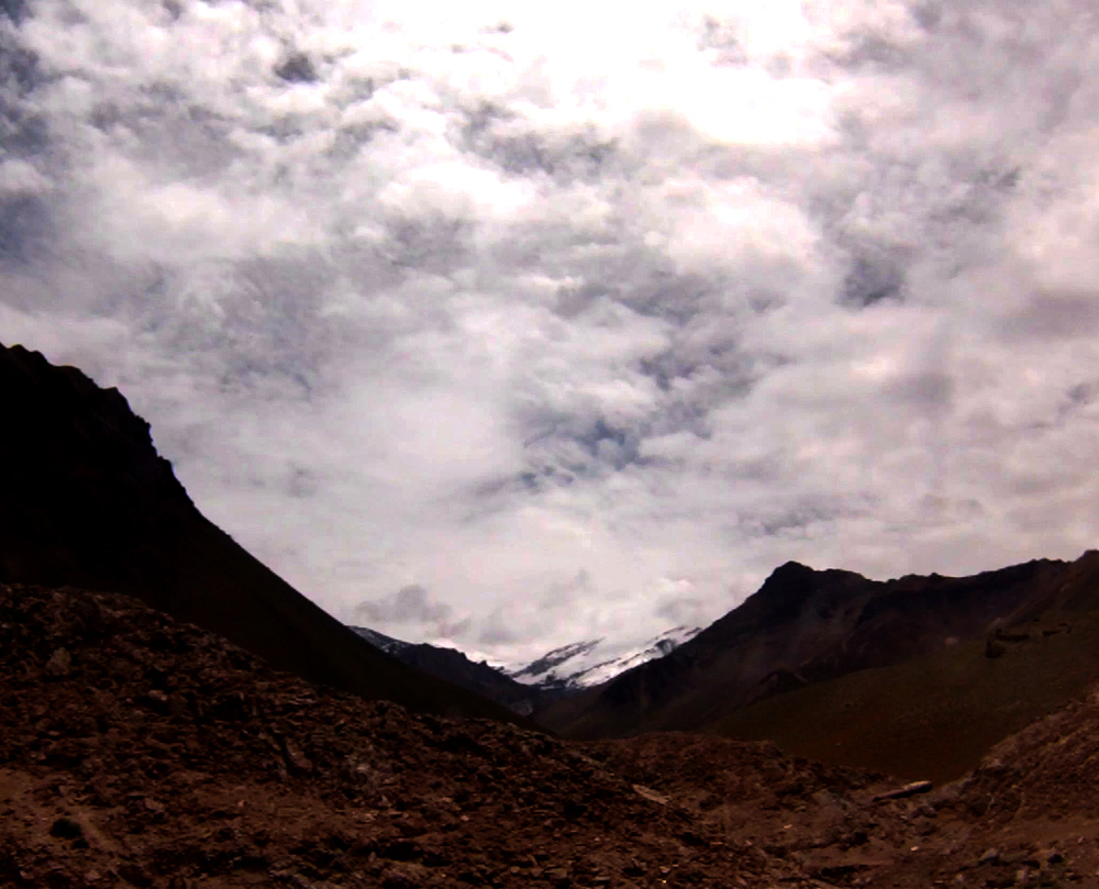 Oh-so-brief view of Aconcagua, the tallest mountain in the Andes and all of the Americas.
