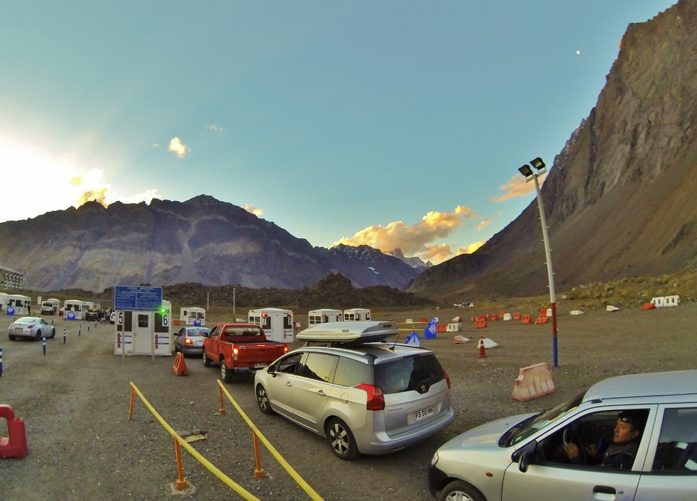 The line at the Chilean border.  Only had to wait for four hours on top of a freezing mountain as the sun set