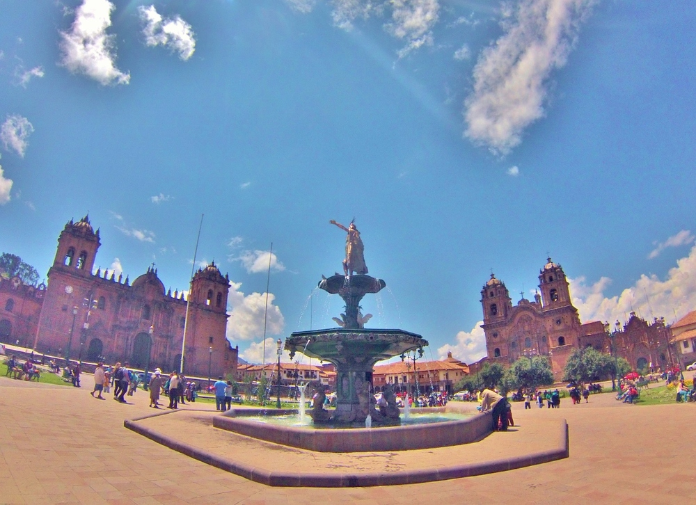 Inca fountain in Cusco's Plaza de Armas