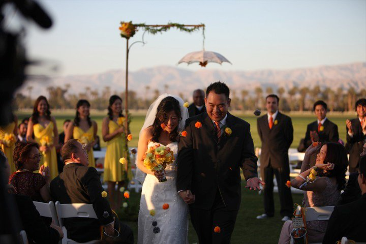 Eric and Julia made the little yarn pompoms that guests threw as they walked off as husband and wife for the first time.