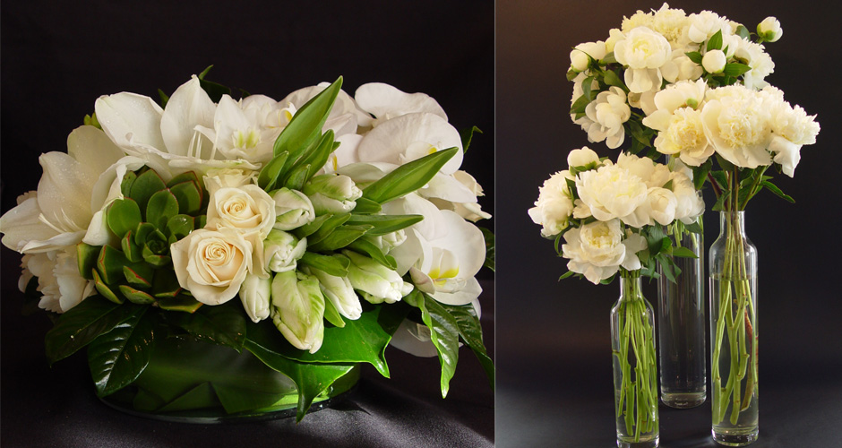 "Kimm""s preferred style is lush and compact. Grouping the flowers together within the arrangement to give the eye time to notice each variety within the arrangement."