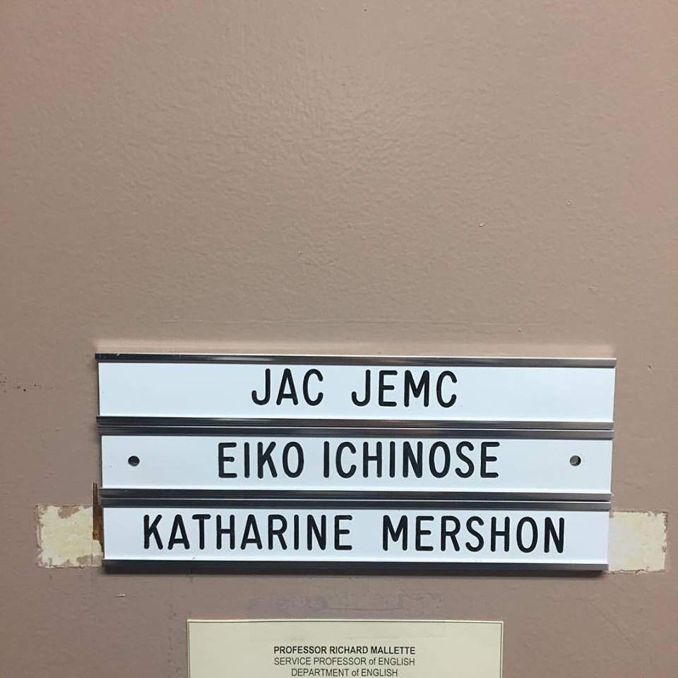 Today I found my name engraved in plastic on my office door at Lake Forest and it made me very happy.