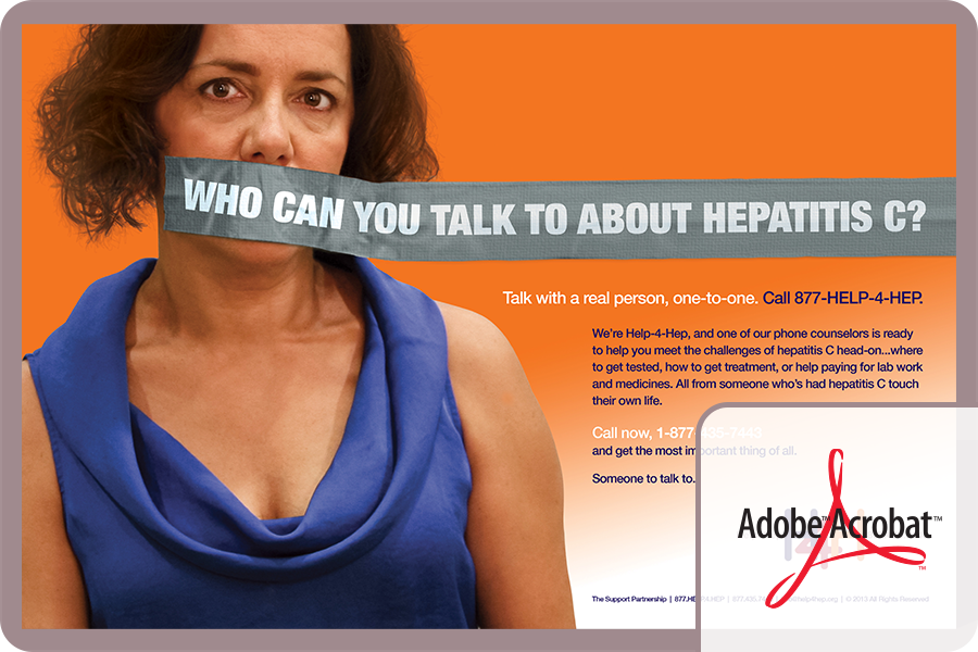 "Help-4-Hep Poster – Available as a downloadable pdf file, sized to print on 11"" x 17"" paper. An attention-getting way to let people know that there IS someone they can talk to about hepatitis C."