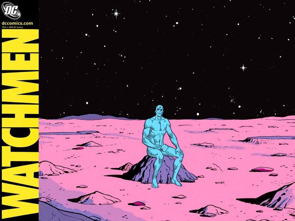In watchmen, Dr Manhattan un-knowingly destroys NYC but also re-unites the American people
