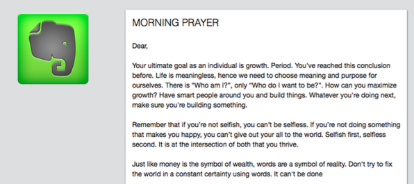 My Evernote Morning Prayer