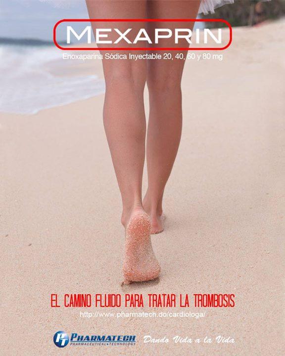 """Mexaprin  está indicado para el tratamiento de la trombosis de venas profundas establecida y el tratamiento de la angina inestable y del infarto del miocardio que no muestre ondas """"Q"""", durante la etapa aguda, en combinación con aspirina. Distribuye  Pharmatech  ."""