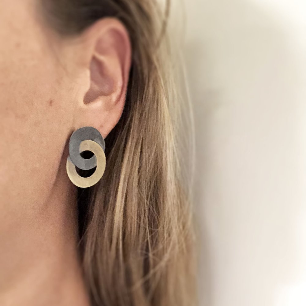 black silver & brass looped studs