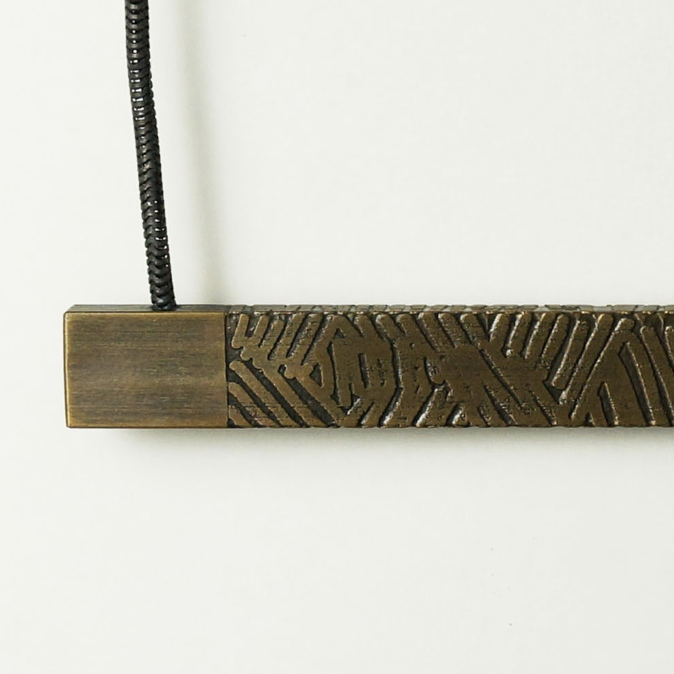 etched brass necklace