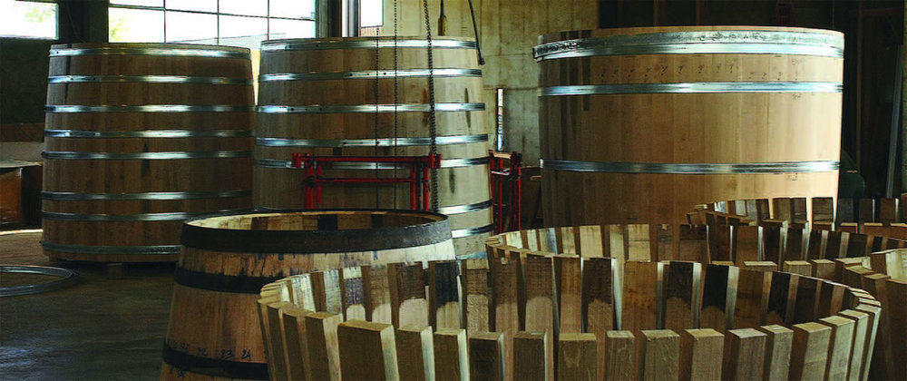 Construction of new foeders at Seguin Moreau's cooperage in Merpins, France.